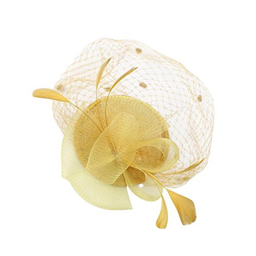 MagiDeal 1920er Party Fascinator Hut Feder Partei Pillbox Hut Flower Derby Hut - Gold (Derby Hut Kostüm)
