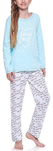 Merry Style Mädchen Schlafanzug 1033 (Türkis-2A, 152) (Schlafanzug Lange Mädchen)