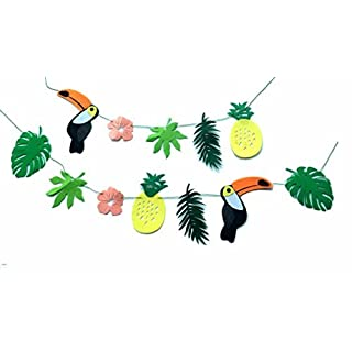 Alemon ALOHA Toucan Bird Tropical Leaves Banner Pennant, Pineapple Party Decorations