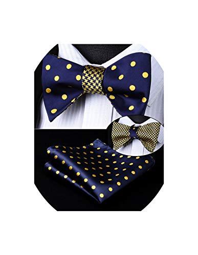 Dot Geometric Double Side Bowtie Men Silk Self Bow Tie Set Pocket Square Party Wedding,As Picture -