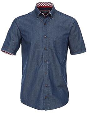 Casamoda Jeans Hemd Blau Kurzarm Casual Fit Locker Geschnitten Button Down Kragen 100% Baumwolle Bügelleicht