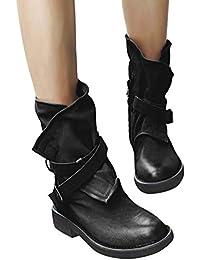 d5cb27e355836 Minetom Stivali Donna Scarpe Autunno Inverno retrò Pelle Casual Ankle Boots Stivaletti  Tacchi Bassi Stivali da