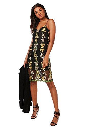 Damen Gelb Boutique Dia Besticktes Slip-kleid In Midilänge Gelb