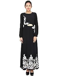 LondonHouze Crochet Waist Cut Maxi Dress