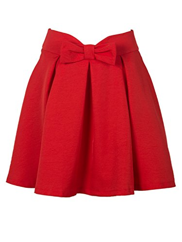 Choies Damen Einfarbig Schleife Taille Faltendetail Mini Skater Rock, Rot, S (Minnie Rock)