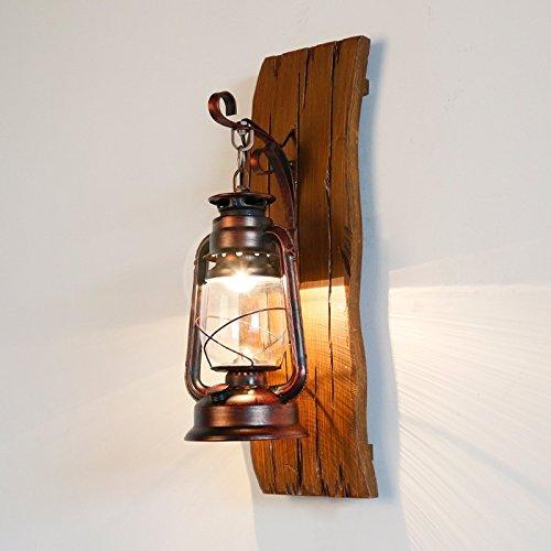 YIZHANGAmerikanisches Land-Massivholz Eisen Kerosin Lampe Laterne kreative Holz Kunst Hand geschnitzt mediterrane antike Glaswand Lampe -
