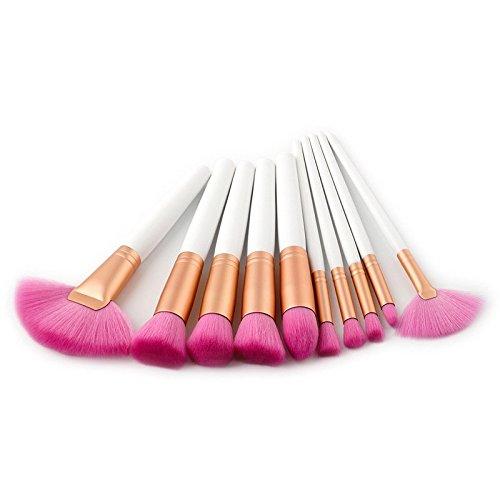 Maquillage Brosse, 10 Pcs/Set Fan Brush Fondation Liner Lip Eyebrow Blush Maquillage Brosse Fondation Mélange Poudre Ombre à Paupières Contour Concealer Beauté Joue Outil Cosmétique (Color : Pink)