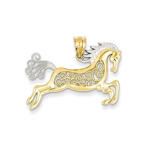 IceCarats Designer Jewellery 14K Rhodium Filigree Horse Pendant