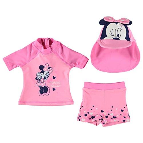 Disney Kinder Baby Bademode Set Oberteil Top Badehose Shorts Bademuetze Kappe Disney Minnie 6-9 Mnth (Boardshorts Bademode)