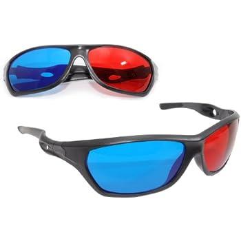 2x 3D Brille, Sportliche 3D-Anaglyphenbrillen für TV oder PC-Spiele (rot/blau), Fernseher, 3D-Gläser mit Anaglyphen-Technologie - Marke Ganzoo