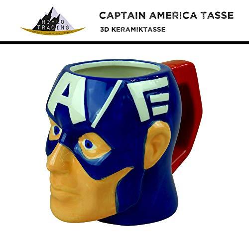 Teenager Captain America Kostüm - hi-lo Marvel Avengers Captain-America Tasse Keramik Blau Groß - 300ml - Fanartikel Geschenk Männer Frauen Kinder