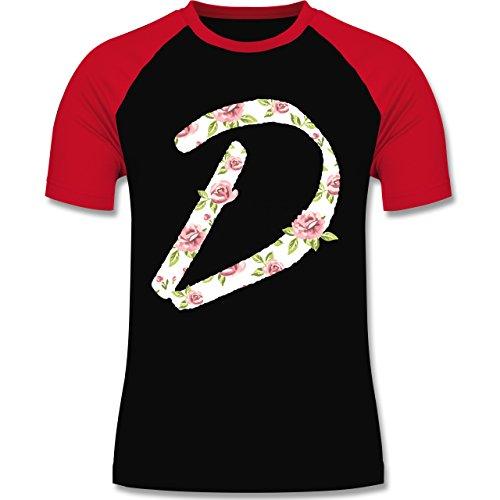 Anfangsbuchstaben - D Rosen - zweifarbiges Baseballshirt für Männer Schwarz/Rot