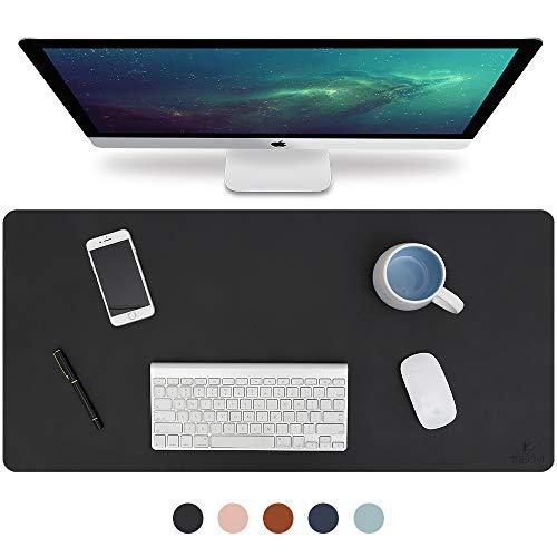 Knodel Tischunterlage, Schreibtischunterlage, 80cm x 40cm PU-Leder Tischunterlage, Laptop Tischunterlage, wasserdichte Schreibunterlage für Büro- oder Heimbereich, doppelseitig (Schwarz / Schwarz) - Schwarze Oberfläche, Schreibtisch