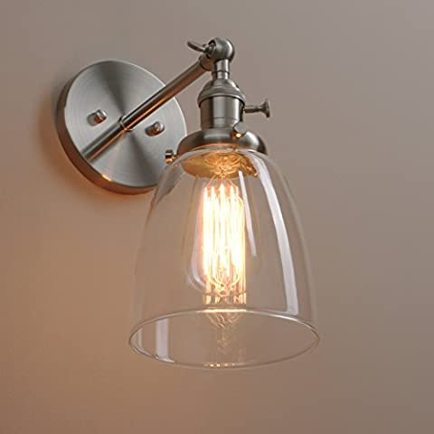 Pathson Antik Deko Design Kleine Glocke Klar Glas innen Wandbeleuchtung Wandleuchten Loft-Wandlampen Wandbeleuchtung (Gebürsteter Edelstahl