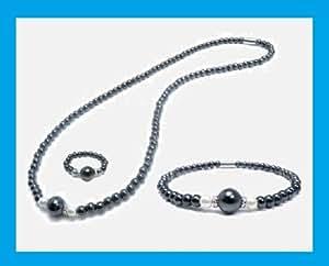 PARURE HEMATITE aimanté, perles hématite de 4 et 8 mm