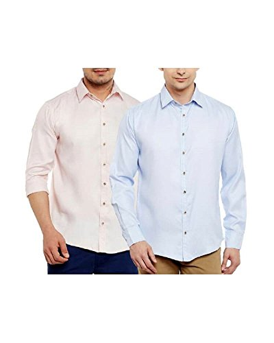 Doora Men's Cotton Formal Shirts Pack of 2 (doora005-38, beige&blue, 38)