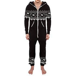SKYLINEWEARS Men's Fashion Printed Onesie Playsuit Jumpsuit Black Aztek-N S