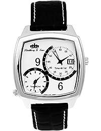 Lindberg & Sons Reloj automático para hombre con correa de piel color negro y de color blanco esfera analógica pantalla hq22127 W