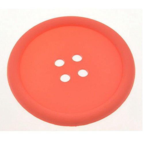 1x Silikon Kaffee Tisch-Sets Button Untersetzer Tasse Glas Getränkehalter Pad Matte, Orange, Dia: appr. 8.8cm/3.46