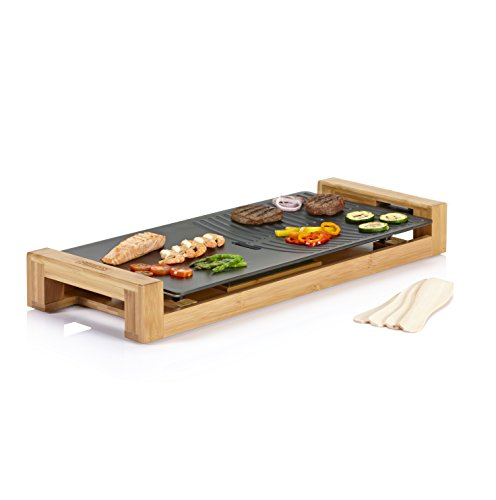 Princess 103025 Table Chef Duo – Plancha y parrilla, revestimiento negro, bambú