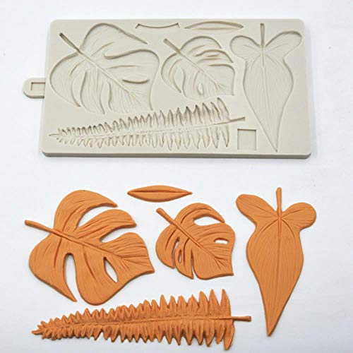 Loving bird Silicone Fondant Cake Mold Flamingo Parrot Fondant Mould Tropical Leaf Mould Calla Lily Leaf fern and Bamboo Chocolate Mold k250,Leaf k251 Nordic Ware Candy