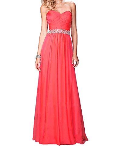 Charmant Damen Blau Elegant Langes Chiffon Abendkleider Ballkleider Abschlussballkleider A-linie Rock Rot