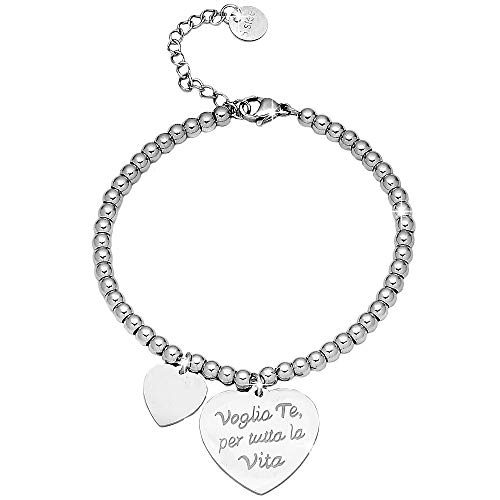 Beloved ❤️ bracciale da donna, braccialetto in acciaio emozionale - frasi, pensieri, parole con charms - ciondolo pendente - misura regolabile - incisione - argento (mod 25)
