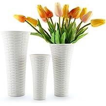 T4U Keramik Blumenvase Weiß Deko Vasen Set Rattan Design Für Wohnung  Dekoration, 3er Set Von