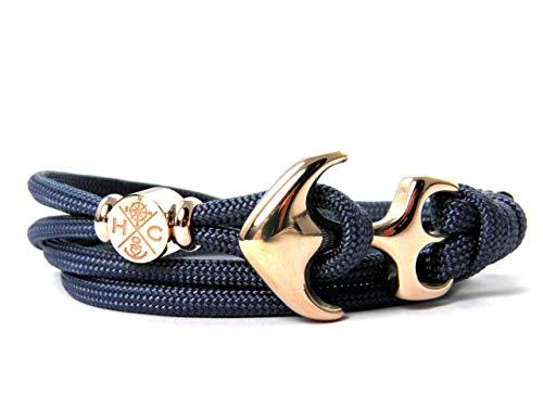 HanseCharms - Maritimes Surfer Edelstahl Anker Armband-Handmade-aus US Paracord III-Verstellbar-Unisex-Wickelarmband-Frauen, u. Männer Armband-Geschenk-Navy Blau