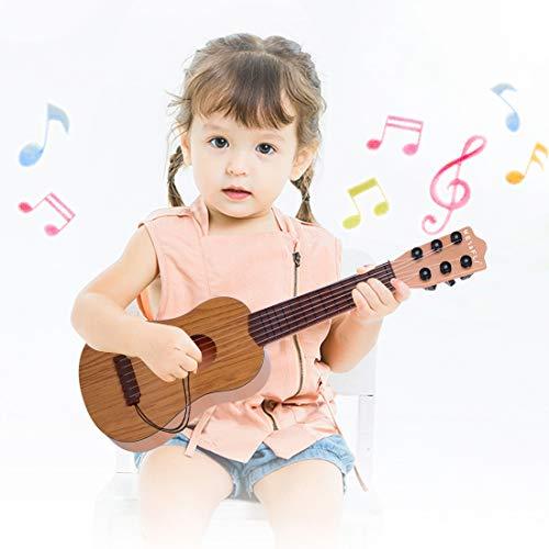 WEY&FLY Kinder Spielzeug Gitarre, 6 Saiten erste Musikinstrument, Pädagogisches Lernspielzeug für Anfänger Mädchen Jungen Geburtstag Weihnachten, fördert Musikfähigkeit (Holzmaserung Farbe)