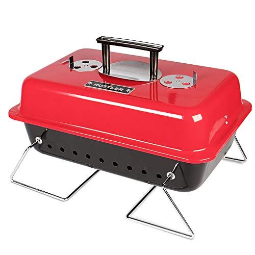 Rustler Holzkohle Picknickgrill 15 cm , rot emailiert , Tragbarer Grill mit Deckelthermometer, klappbaren Standfüßen & großer Grillfläche , Klappgrill für Garten, Balkon, Festival & Camping -