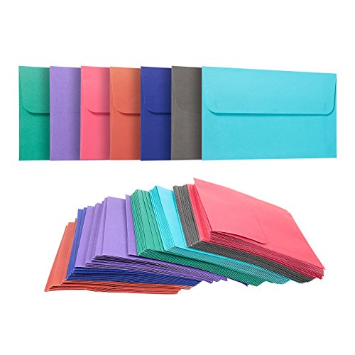 Confezione da 100buste colorate,11x 16cm, linguetta quadrata, per foto, inviti, partecipazioni di nozze, peso della carta 100g/m², colori assortiti