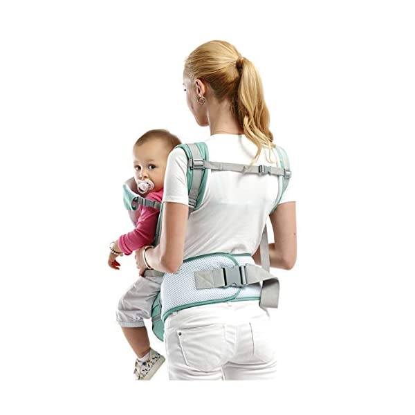 SONARIN 3 in 1 Multifunction Hipseat Baby Carrier,Ergonomic,Mummy Bag,100% Cotton,Breathable mesh Backing,Adapted to Your Child's Growing,Cozy & Soothing for Babies,Ideal Gift(Green) SONARIN Applicable age and Weight:0-36 months of baby, the maximum load: 36KG, and adjustable the waist size can be up to 45.3 inches (about 115cm). Material:designers carefully selected soft and delicate 100% cotton fabric. Resistant to wash, do not fade, External use of 3D breathable mesh,15mm soft cushion,to the baby comfortable and safe experience. 30mm sponge filled, effectively relieve mother's abdominal pressure. Description:patented design of the auxiliary spine micro-C structure and leg opening design, natural M-type sitting. Removable backplane, hold the baby back, perfect support horizontal hold.The baby carrier and the hipseat junction have a protective pad,intimate design, so that your baby more comfortable. 3