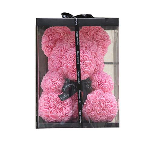 XXDYEE Ewige Blume Rose Bär Freundin Liebhaber Tragen Geschenkbox Weihnachts Geburtstag Geschenk (Farbe : Pink)