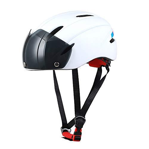 Fahrradhelm, Einzigartige Fahrradhelm Bike Racing mit Abnehmbarer Schutzbrille Visor Shield für Männer Frauen Mountain Road Fahrradhelm Einstellbarer Sicherheitsschutz