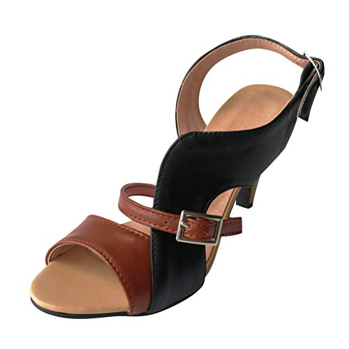 SEHRGUTGE Damen Retro Kitten Heels Sandalen, Peep Toe Slingback Stilettos, Buckle Ankle Wrap Strap Pumps, Color Block Casual Pumps - Für Ankle-boots Nike Frauen