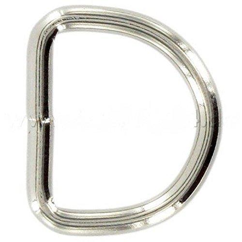 30mm D-Ringe geschweißt aus Stahl, vernickelt, 10 Stück