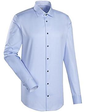 JACQUES BRITT Business Hemd Slim Fit 1/1-Arm Bügelleicht Uni / Uniähnlich City-Hemd Kent-Kragen Manschette weitenverstellbar