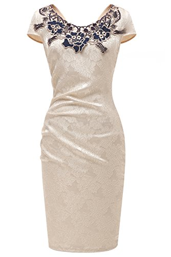 TOSKANA BRAUT Damen Rundhals Spitze Stitching Kleid Business Etui Abendkleid Festkleid...
