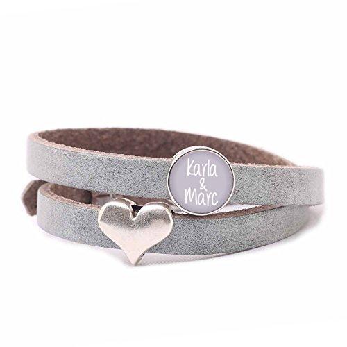 KT-Schmuckdesign Personalisiertes Lederarmband mit Herz & Schiebeperle - grau, Armband mit Gravur und Cabochon in hell-lila, Freundschaftsarmbänder mit Wunschtext, Mode-Schmuck