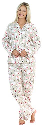 PajamaMania Flanell Pyjama für Damen, Schlafanzug, Eisbär mit Schal (PMF1002-2039-UK-SML)
