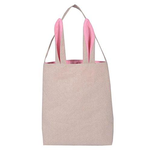 Malloom® Jute Geschenktüte Ostern Hase Ohren Tasche Tote Handtasche Wristlets Clutches Tasche (rosa, Baumwolle und Leinen)