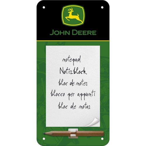 John Deere Magnet (Nostalgic-Art 84019 John Deere Logo, Black and Green, Notizblock-Schild, 10 x 20 cm)