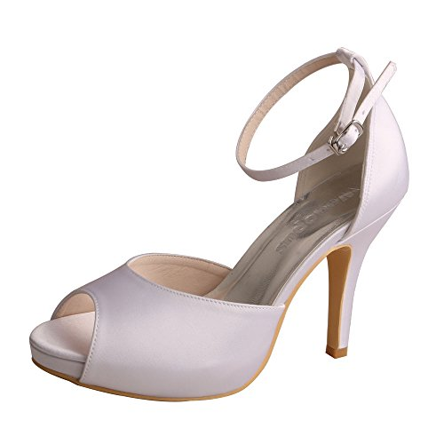 Wedopus MW740 Damen Peep Toe High Heel Plattform Satin Kn?chelriemen Hochzeit Brautschuhe Sandalen Size 39 Wei? High Heels Plattform