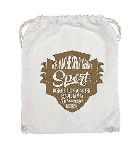 Comedy Bags - Ich mache sehr gerne sport deshalb auch so selten - Turnbeutel - 37x46cm - Farbe: Schwarz / Silber Weiss / Hellbraun