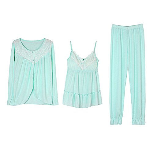Zhhlaixing Three-piece Womens Comfy Pajama Fashion Round neck Long Sleeve Nightwear Green