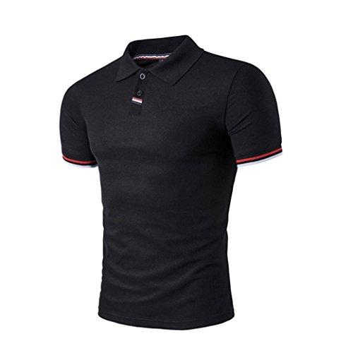 Einreihige Knöpfe (Herren Amlaiworld Einfarbig Drehender Kragen Polo Hemd T Shirts Tee Tops (Schwarz, XXL))