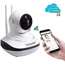 TOGUARD IP WIFI Cámara Video Vigilancia IR Vision nocturna Resolución HD 720P Inalámbricas Cloud Cámara con detección de movimientos/Doble Antena/ (Pan / Tilt) Rotación Horizontal de 355º y Vertical de 120º /Micrófono y altavoz / Audio Bidireccional/Compatible con Smartphones iOS y Android