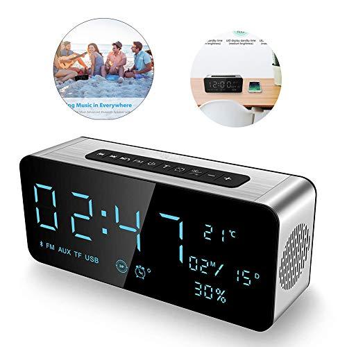 HEDDK Digitaler Wecker Bluetooth-Lautsprecher, für iPhone, iPad/iPod/Android und Tablets, UKW-Radio, LED-Anzeige, Snooze-Temperaturanzeige, 12/24 Stunden, USB Aufladbar - Wecker Ipod-lautsprecher Radio