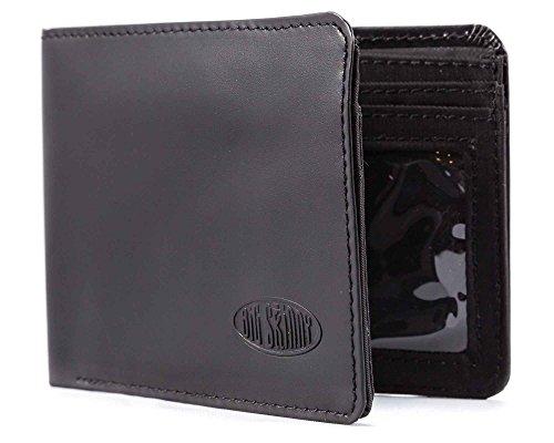 Big Skinny Herren L-Fold Passcase Leder Slim Portemonnaie für bis zu 30 Karten, Herren, schwarz, One Size - Schwarz Leder Wallet Passcase